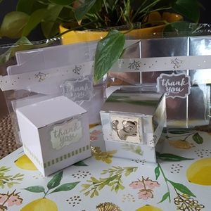 """20 White & Silver Gift Boxes 2""""x2""""x2"""" in"""